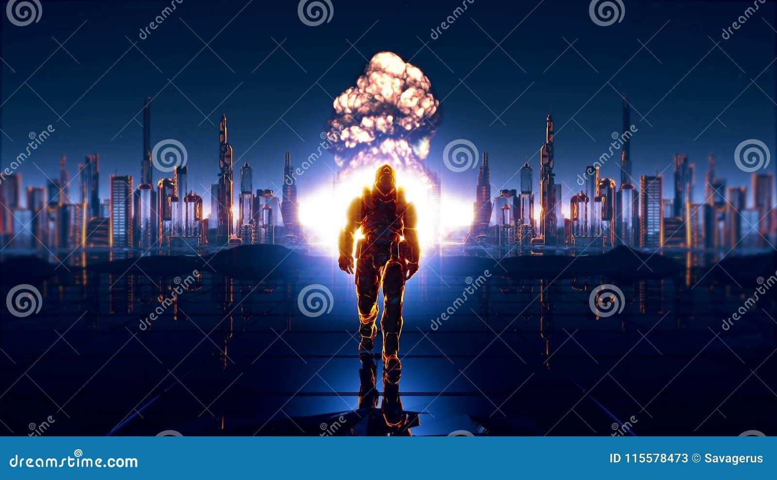 En futuristisk soldat på bakgrunden av den framtida staden