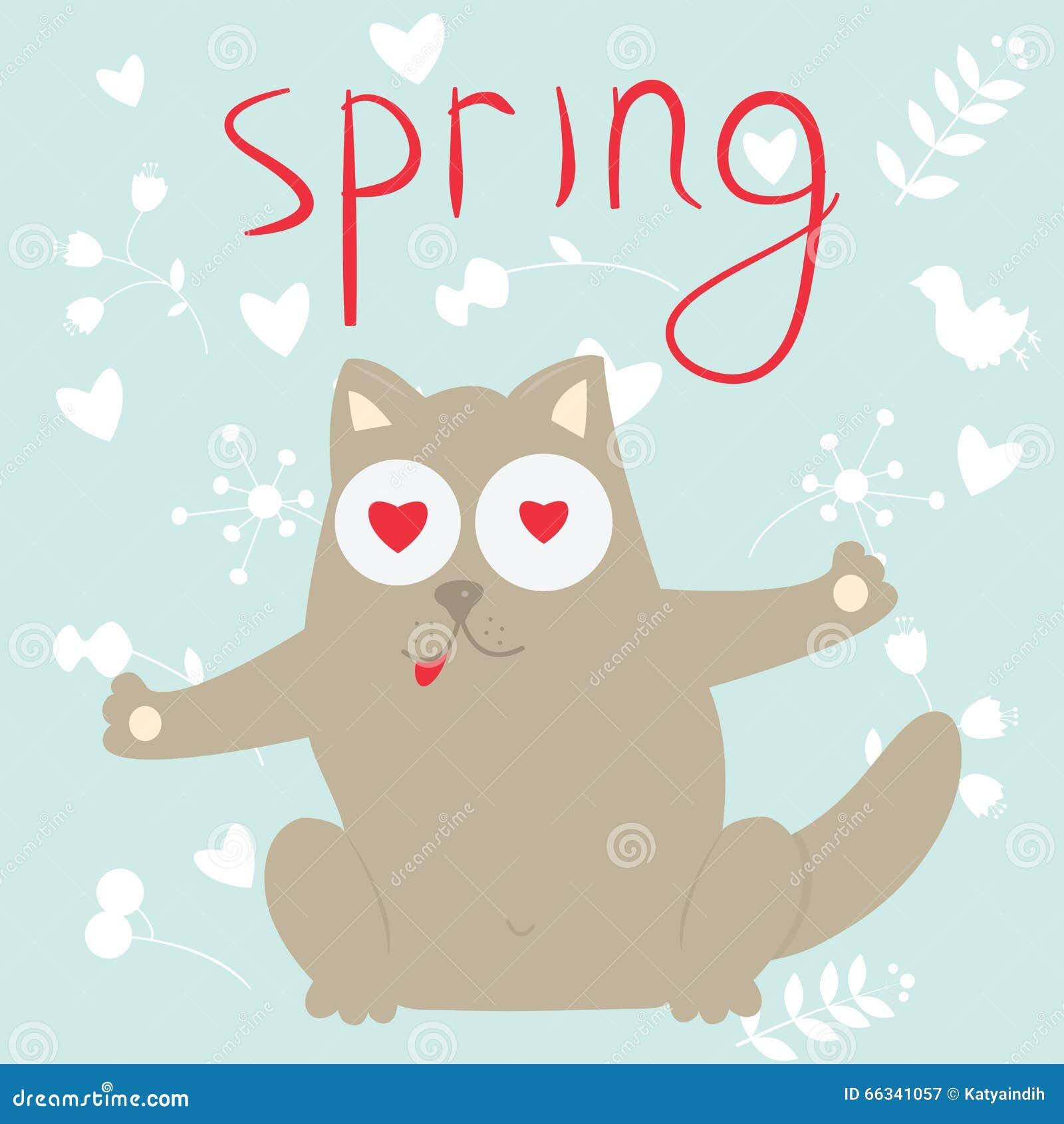 En gato de la historieta del amor en una primavera