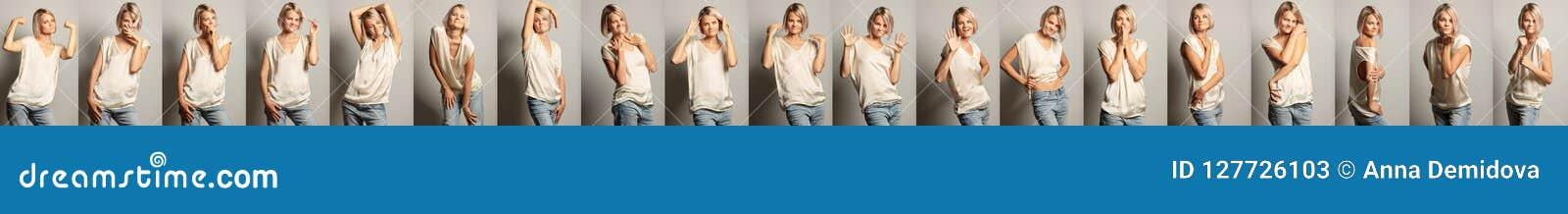 En grupp av bilder av en ung härlig kvinna med olika sinnesrörelser