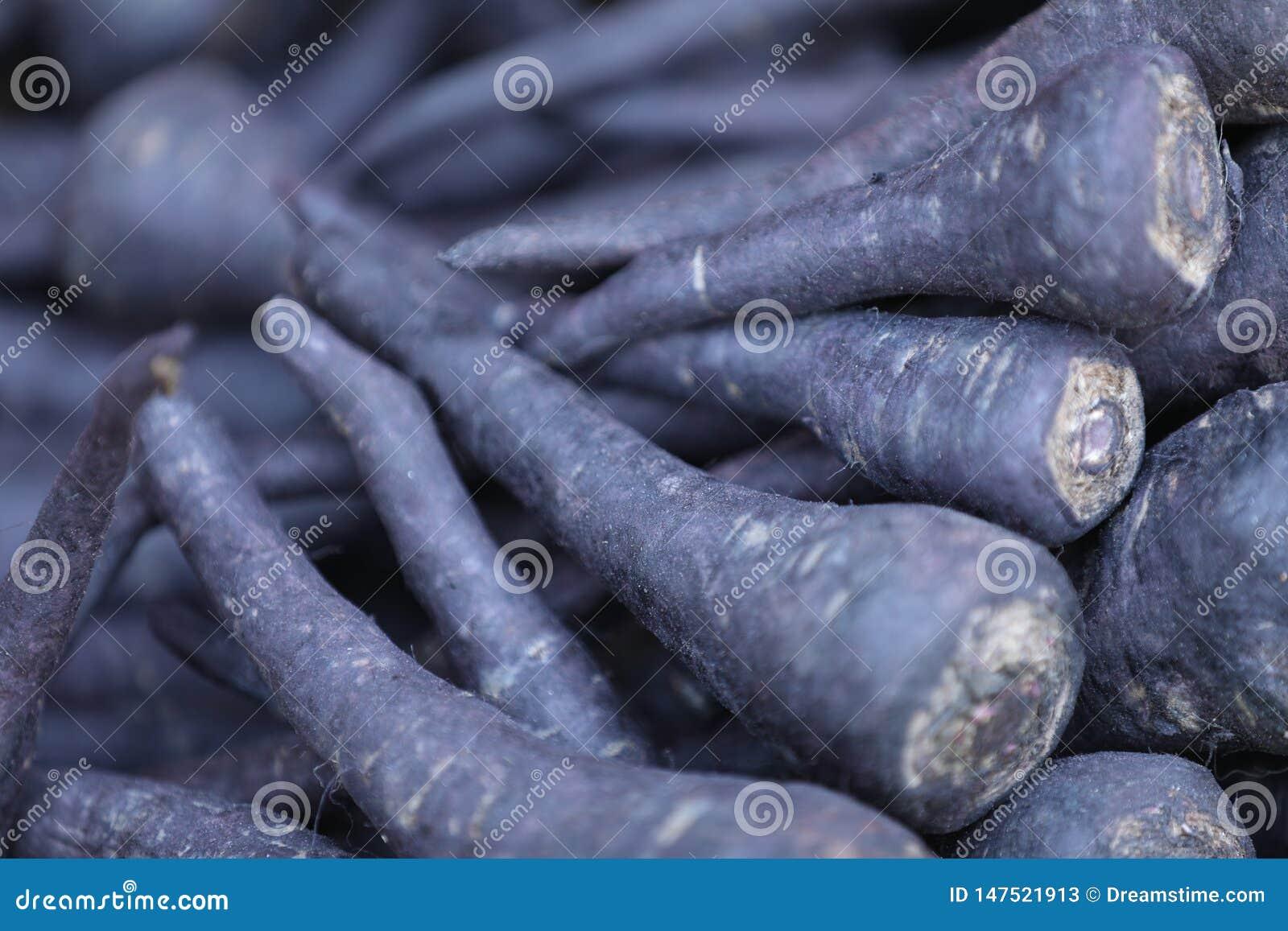En grupp av saftiga svarta morötter