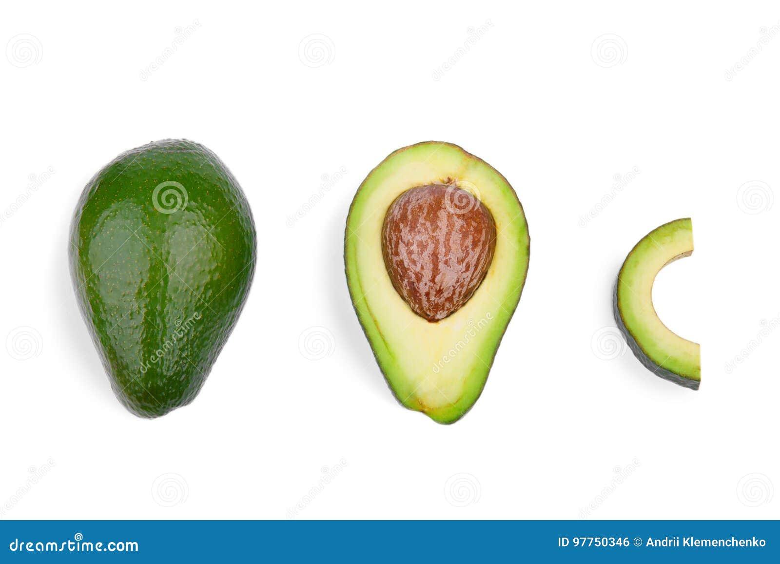 En grupp av tre nya avokadon som isoleras på en vit bakgrund organiska grönsaker Healthful livsstil