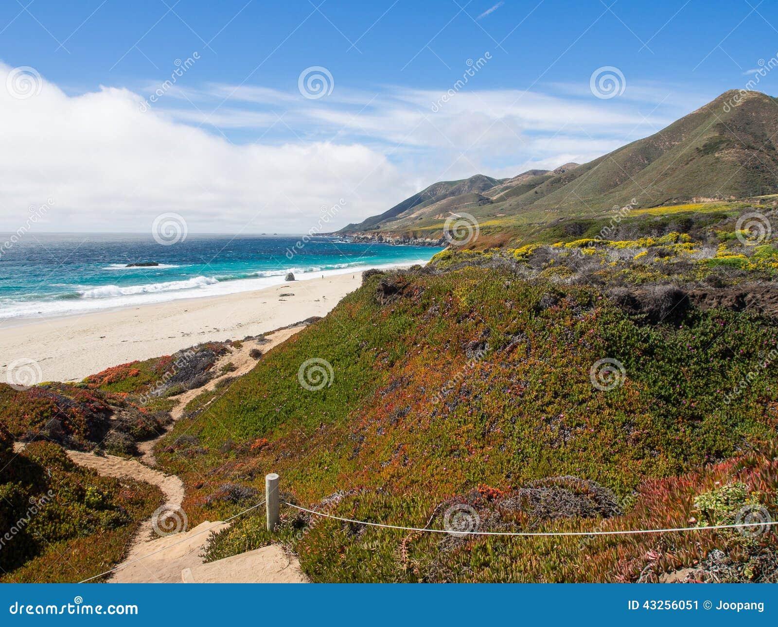 En härlig sikt av Kaliforniens kustlinje längs huvudväg 1, stora Sur