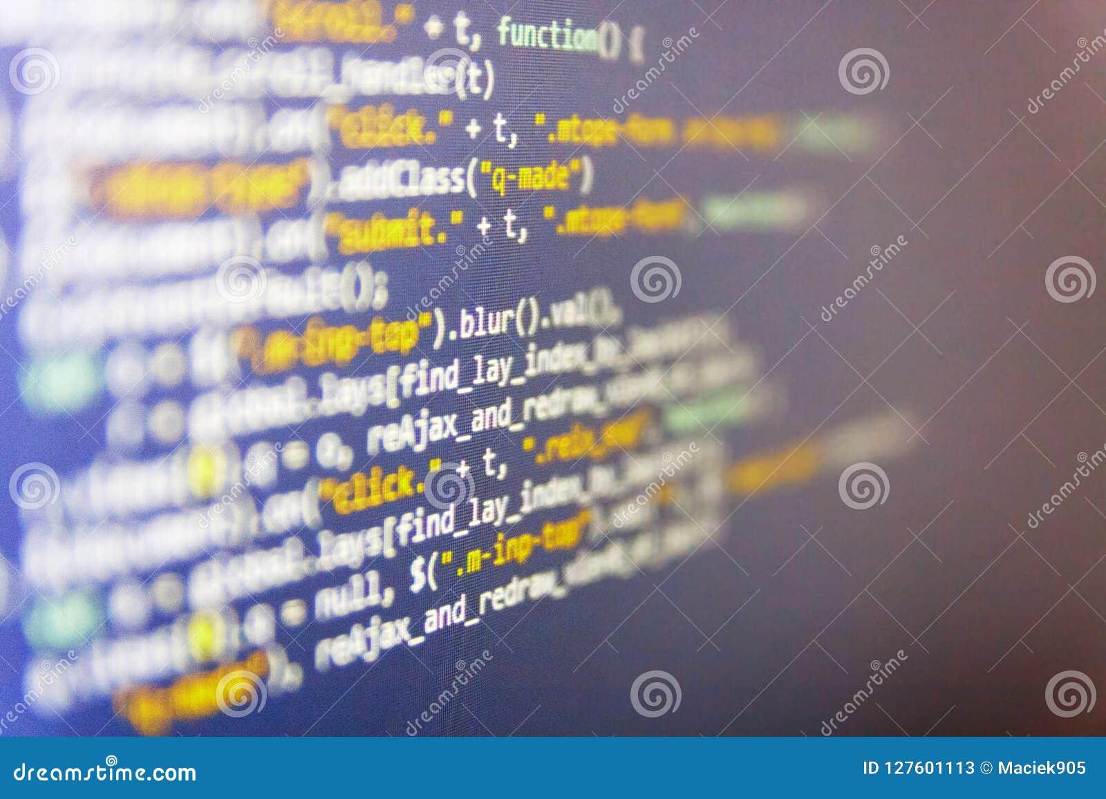 En hackerapi-text på datorskärmen Bildskärmfoto för skrivbords- PC Website som programmerar kod