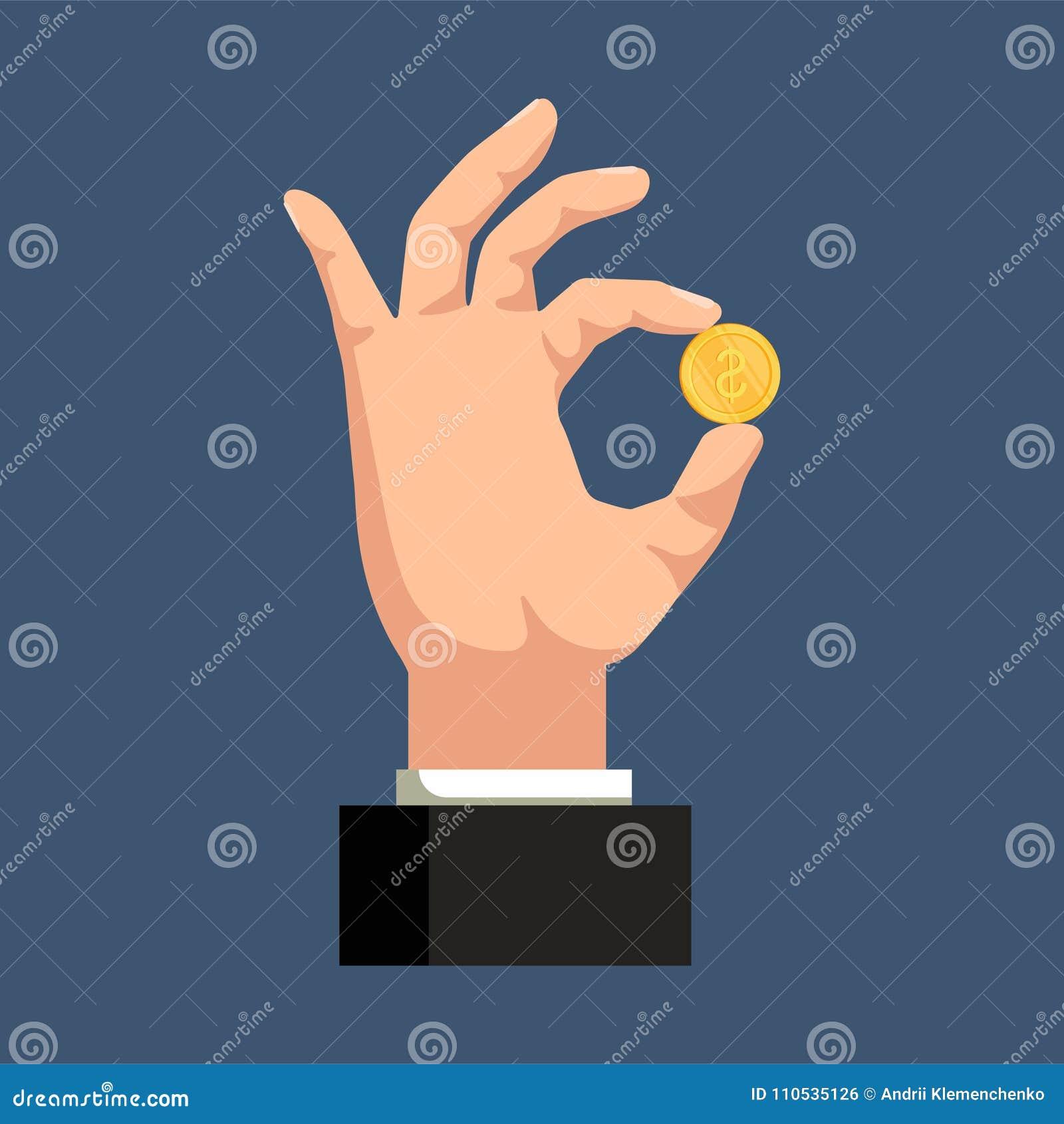 En hand som rymmer ett guld- mynt på en blå bakgrund bakgrundsbegreppet bantar guld- äggfinans också vektor för coreldrawillustra