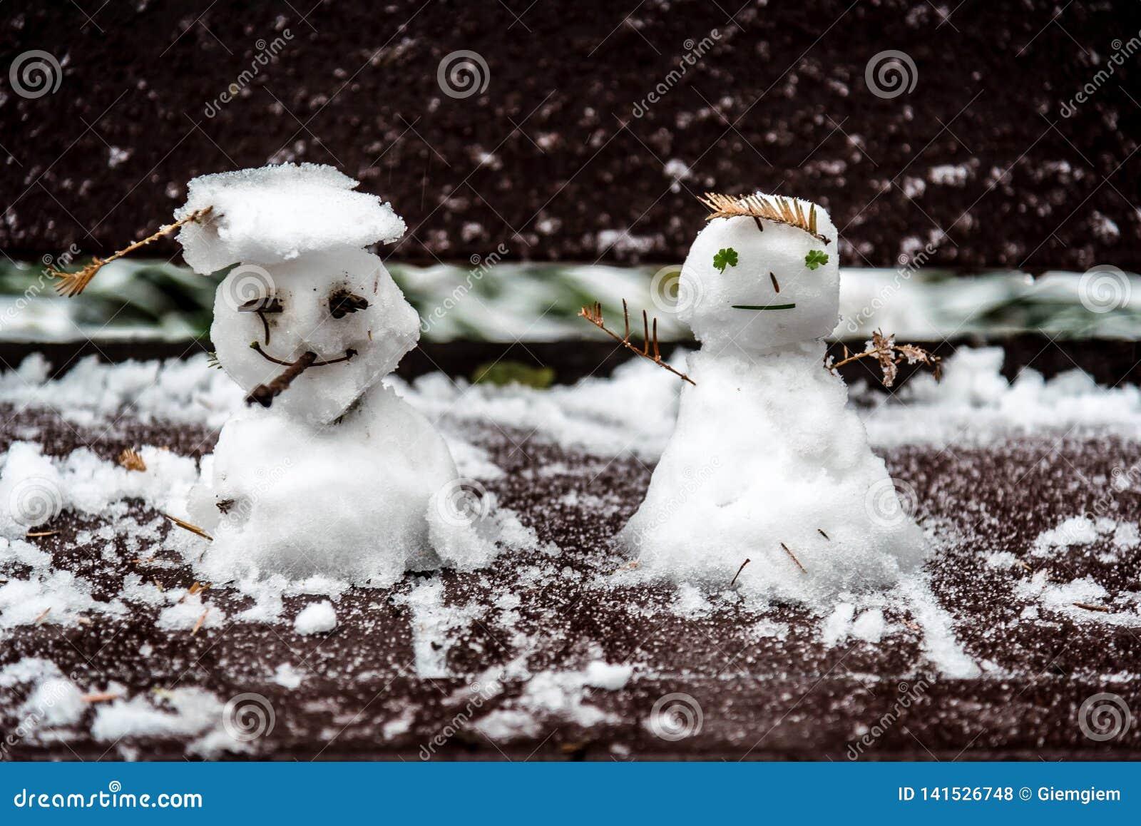 En hiver, l homme et la femme mignons de poupée de neige moulaient sur un banc dans le jardin