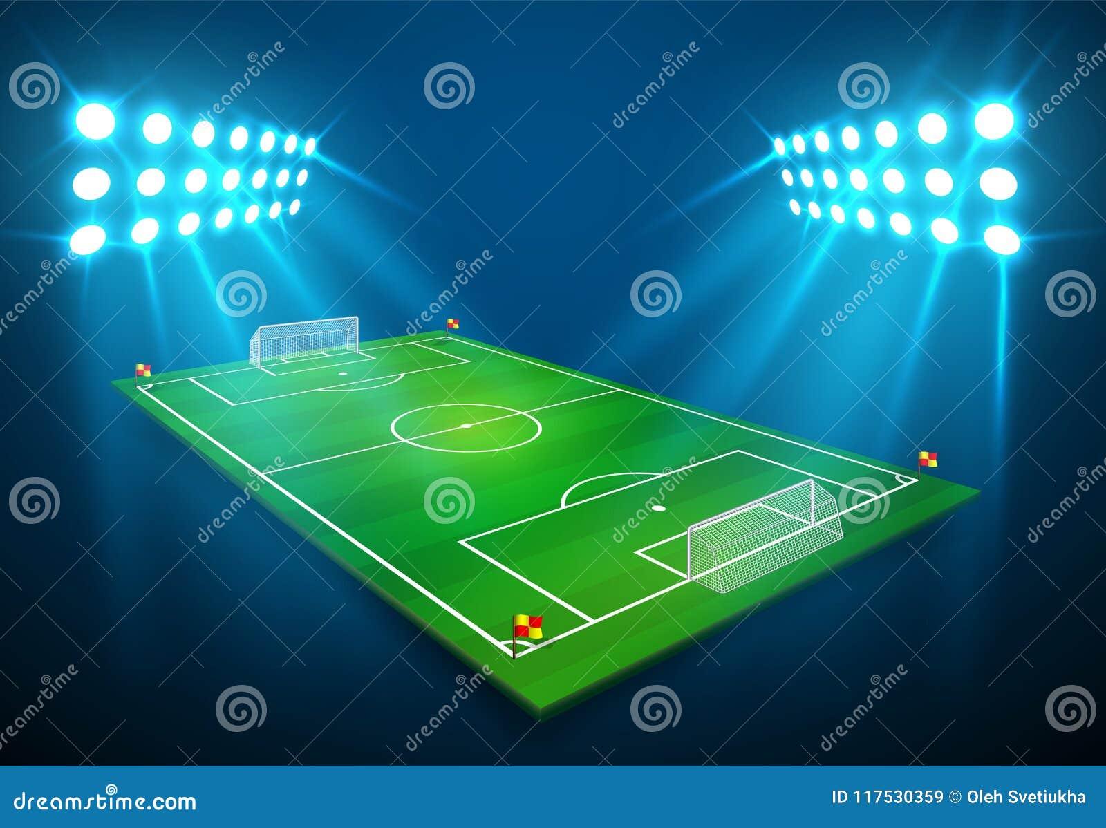 En illustration av fotbollfotbollfältet med ljus stadion tänder att skina på den Vektor EPS 10 Rum för kopierar