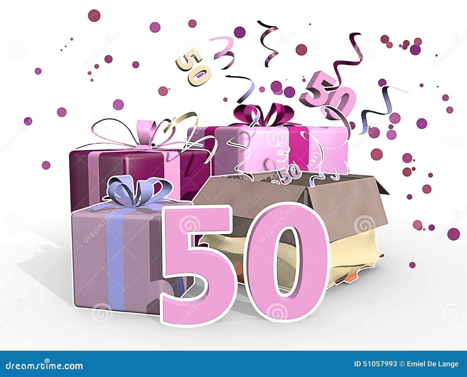 födelsedag 50 år En Illustration Av Gåvor För En Kvinna Som Firar Hennes Födelsedag  födelsedag 50 år