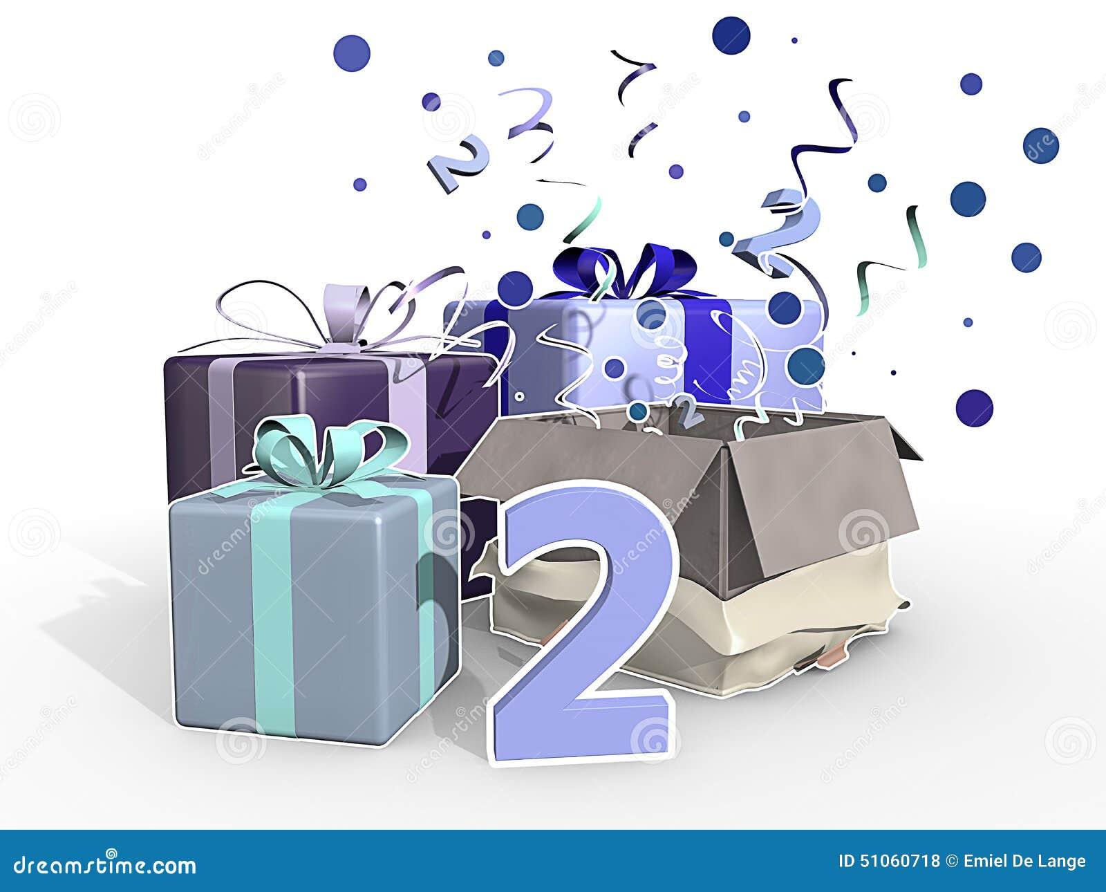 En illustration av gåvor för för pojkar en födelsedag i andra hand