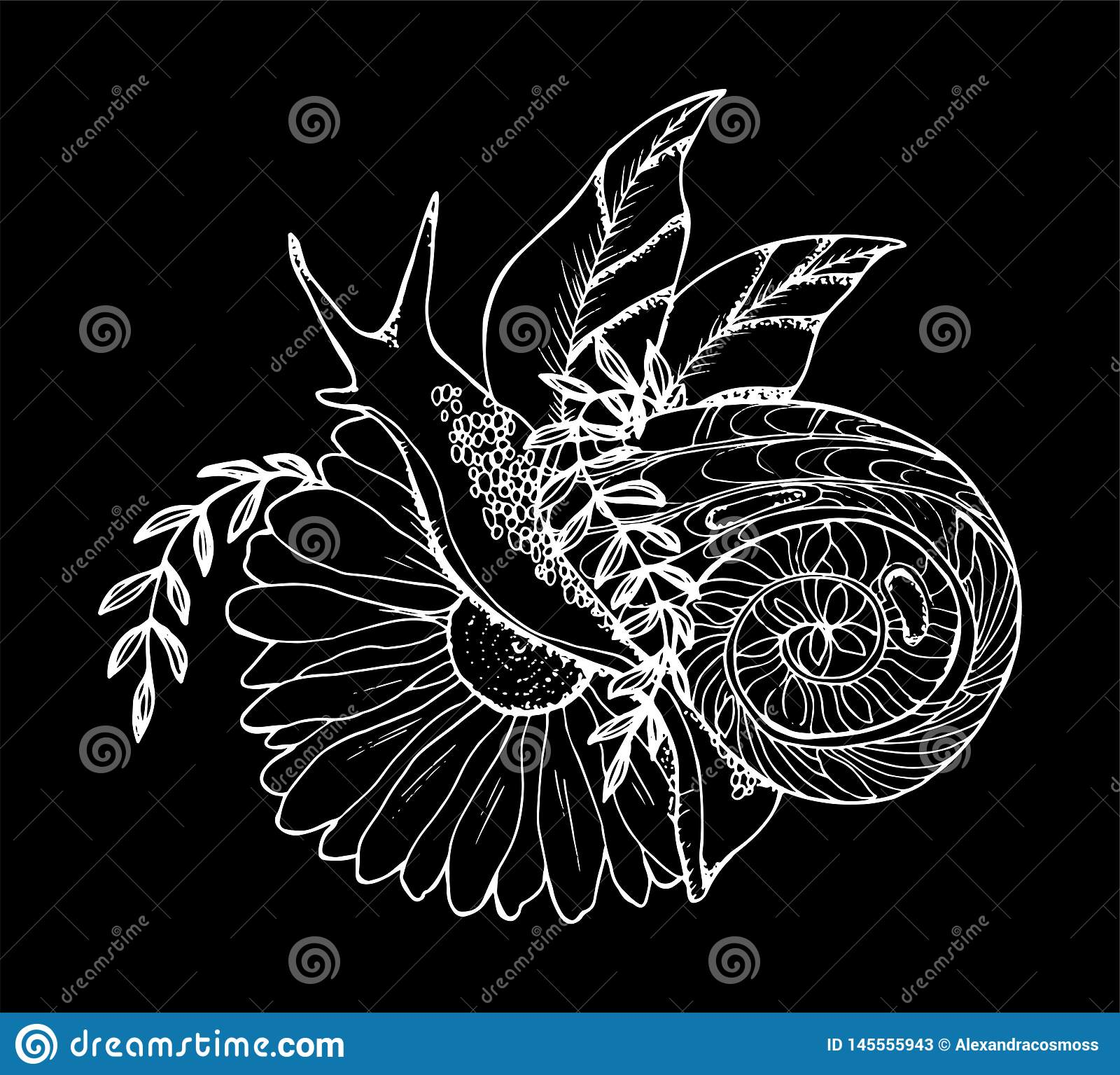 En illustration av en snigel som kryper till och med en blomma Svartvit teckning Krita p? en blackboard