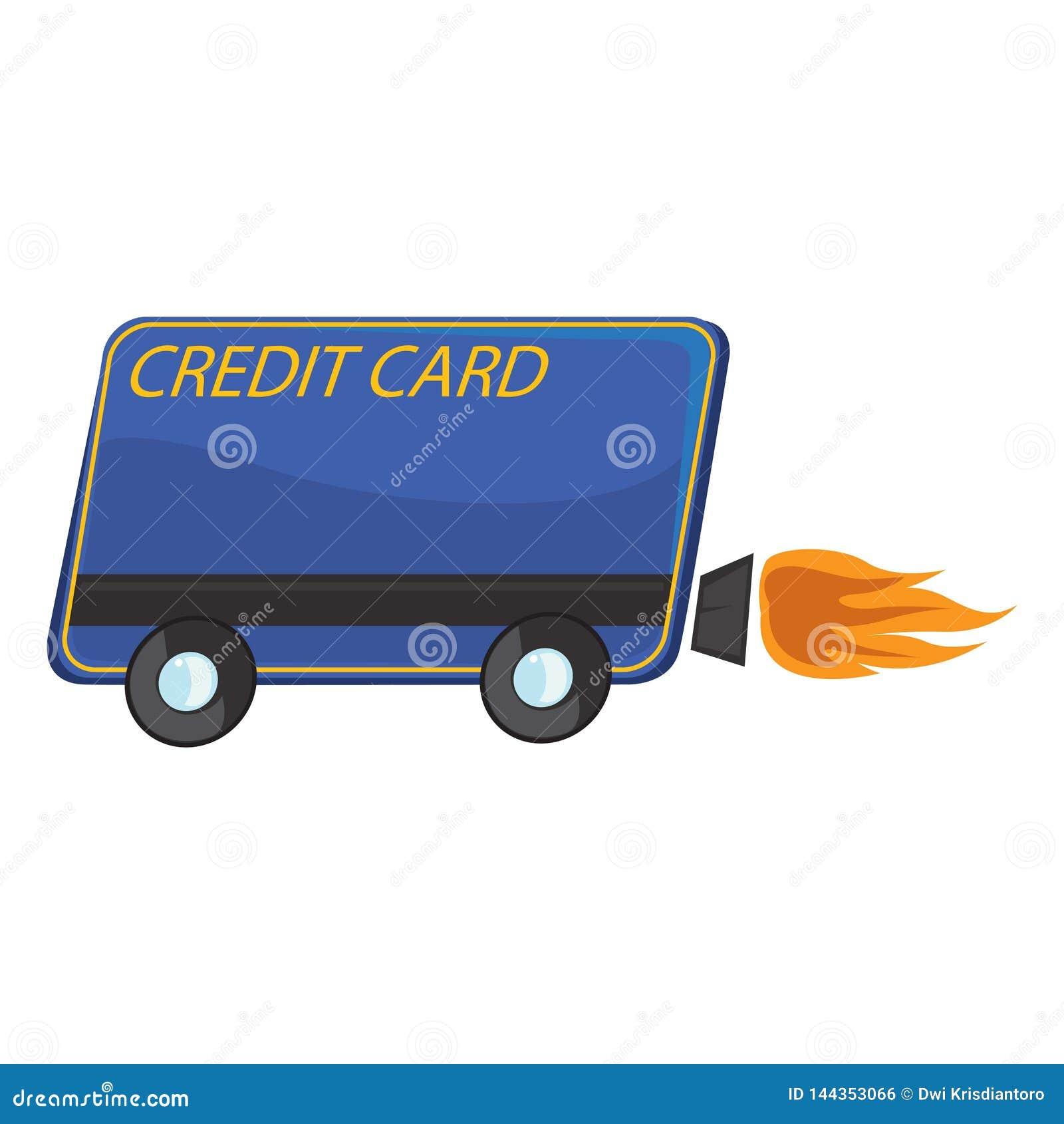 En illustration med ett kreditkorttema som har hjul och en turboladdare bak den