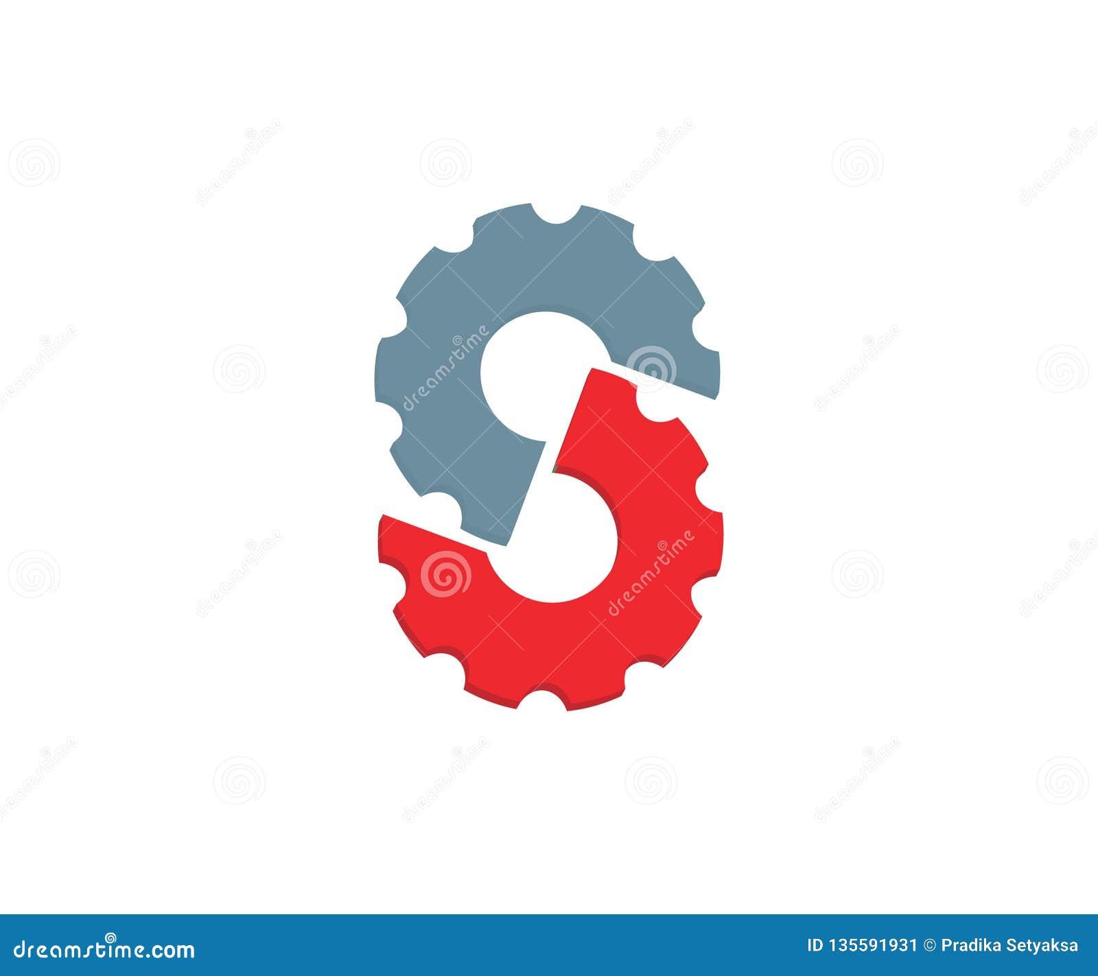 En initiala Logo Made av två kugghjul