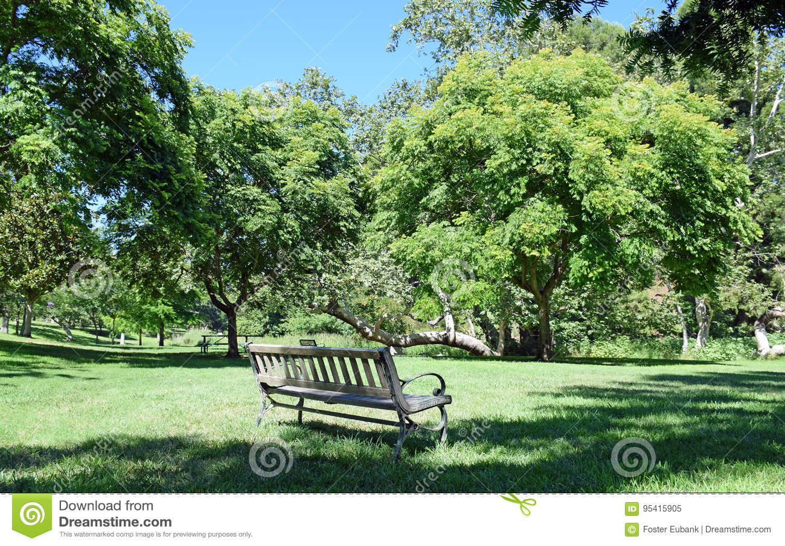 En inviterande bänk som omges av träd i a parkera-som inställning