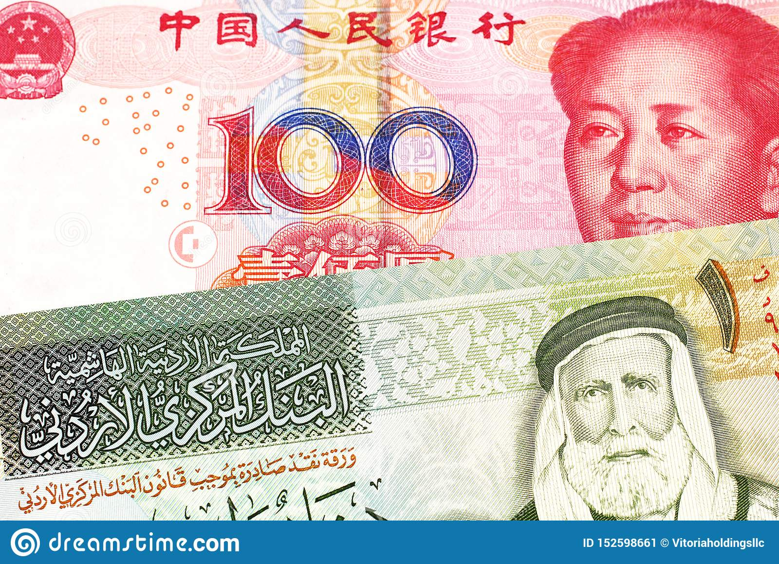 En en jordansk dinar med en kinesisk yuananmärkning