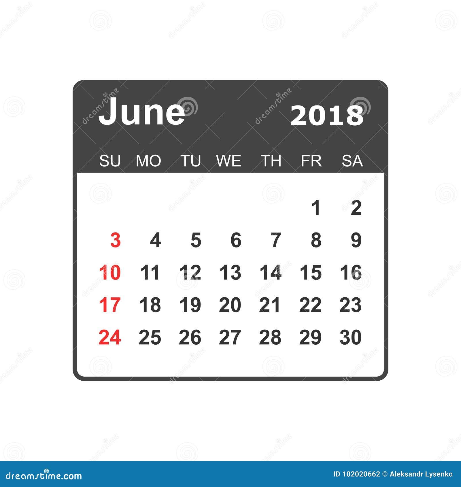 en junio de 2018 calendario plantilla del diseño del planificador