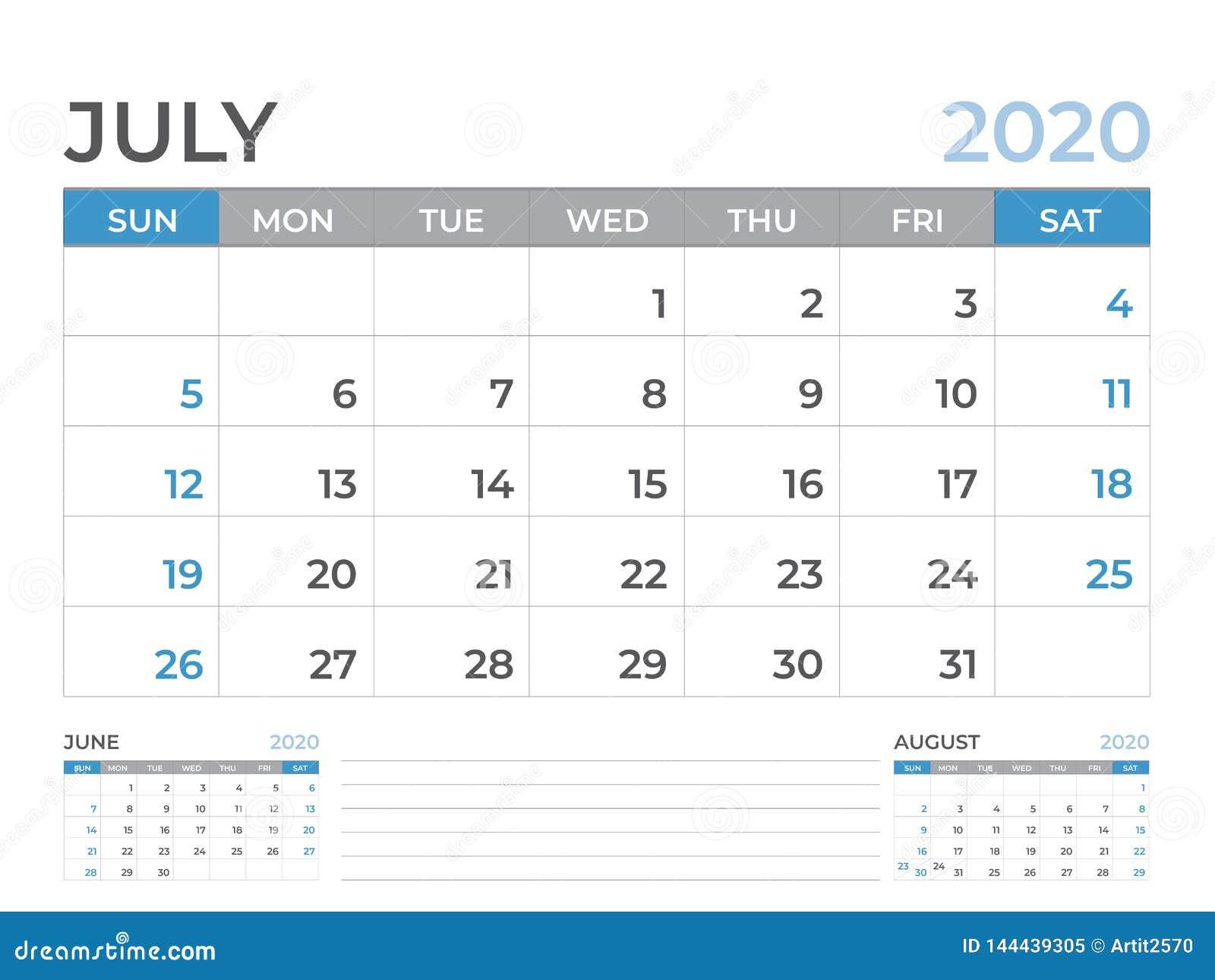 En junio de 2020 plantilla del calendario, talla 8 x de la disposición de calendario de escritorio 6 pulgadas, diseño del planifi