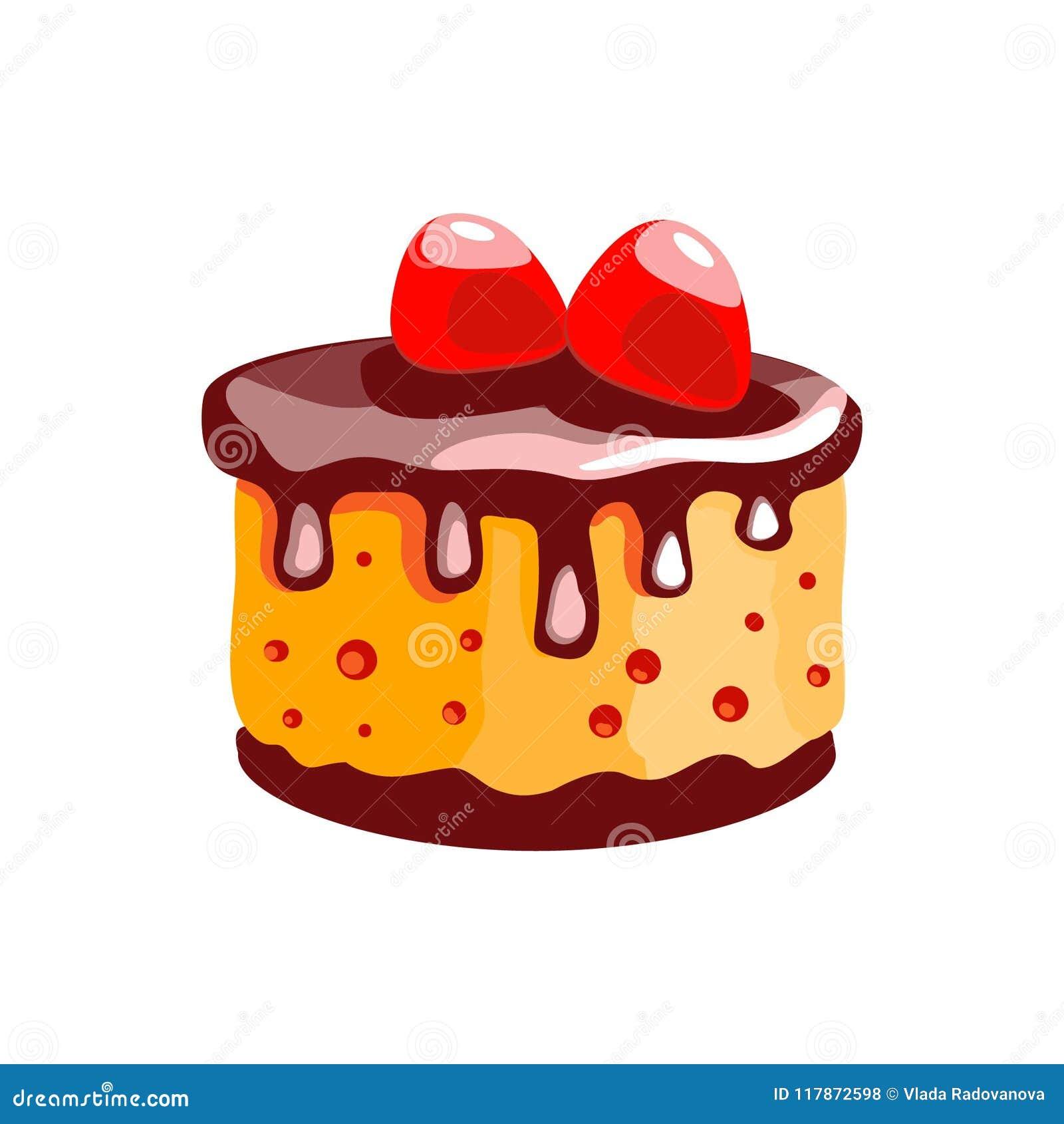 En kaka med citronkräm och jordgubbar Efterrätt Isolerat anmärka Symbol av mat på en vit bakgrund