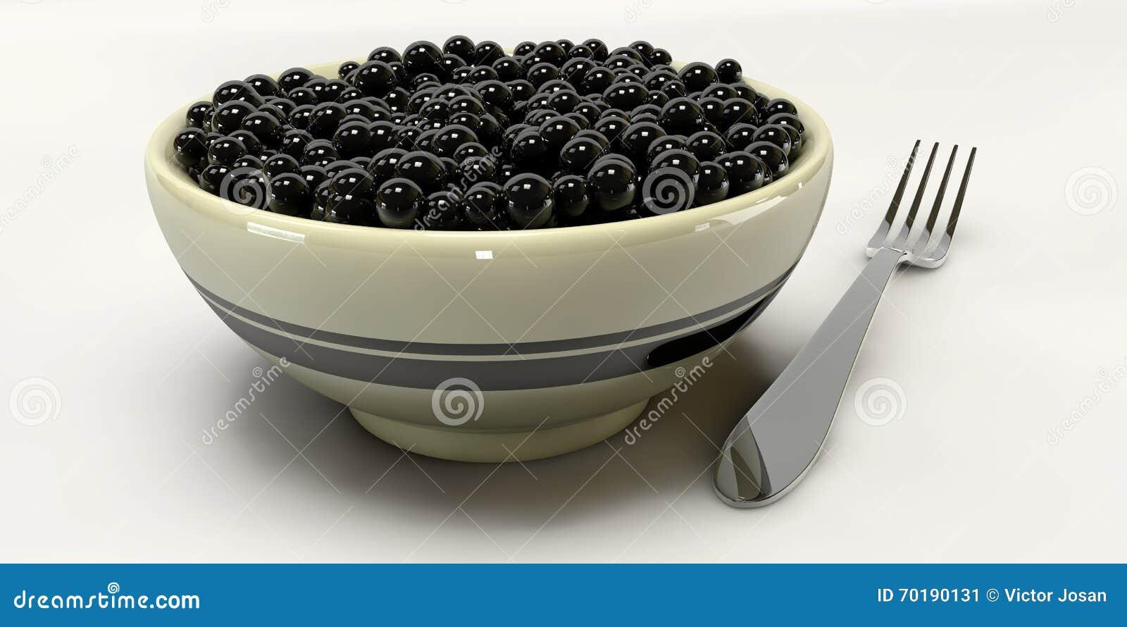 En kaviar 3d på vita bakgrunder