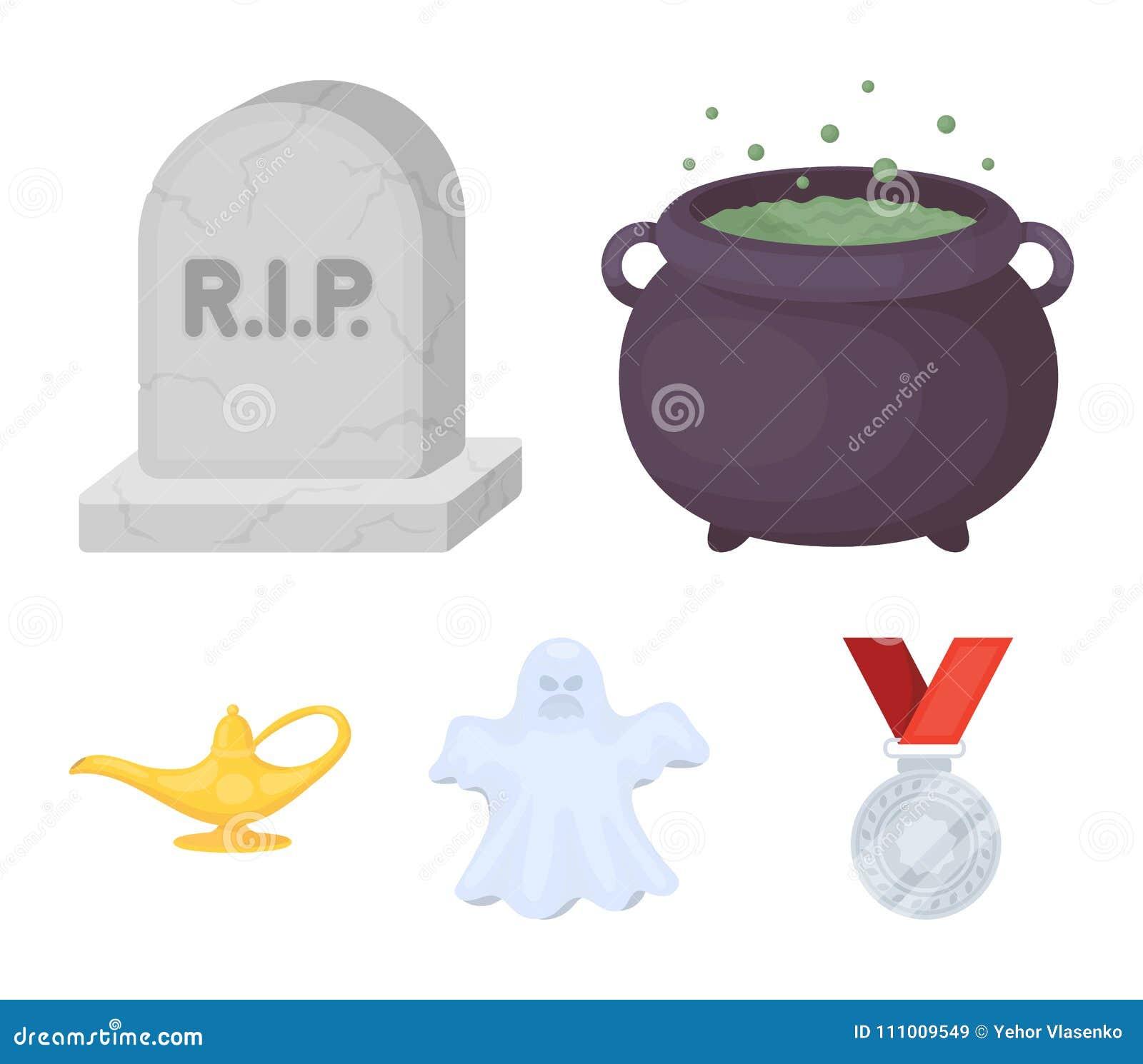 En kittel för häxa` s, en gravsten, en spöke, en ginlampa Svartvita symboler för magiuppsättningsamling i tecknad film utformar v