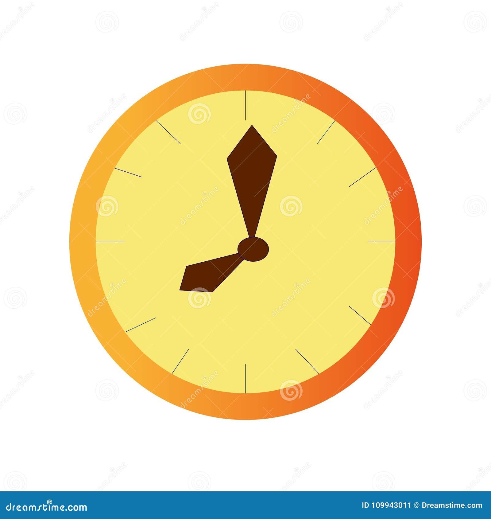 En klocka är gul på en vit bakgrund
