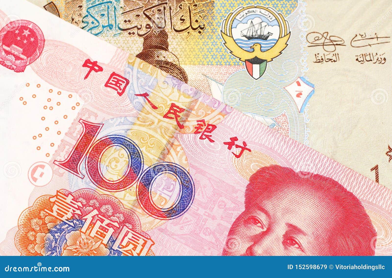 En kuwaitisk dinar med ett kinesiskt yuananmärkningsslut upp