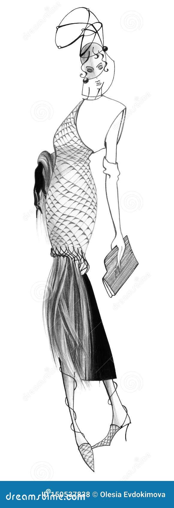 En kvinna i en klänning som göras av reptilar med lång päls