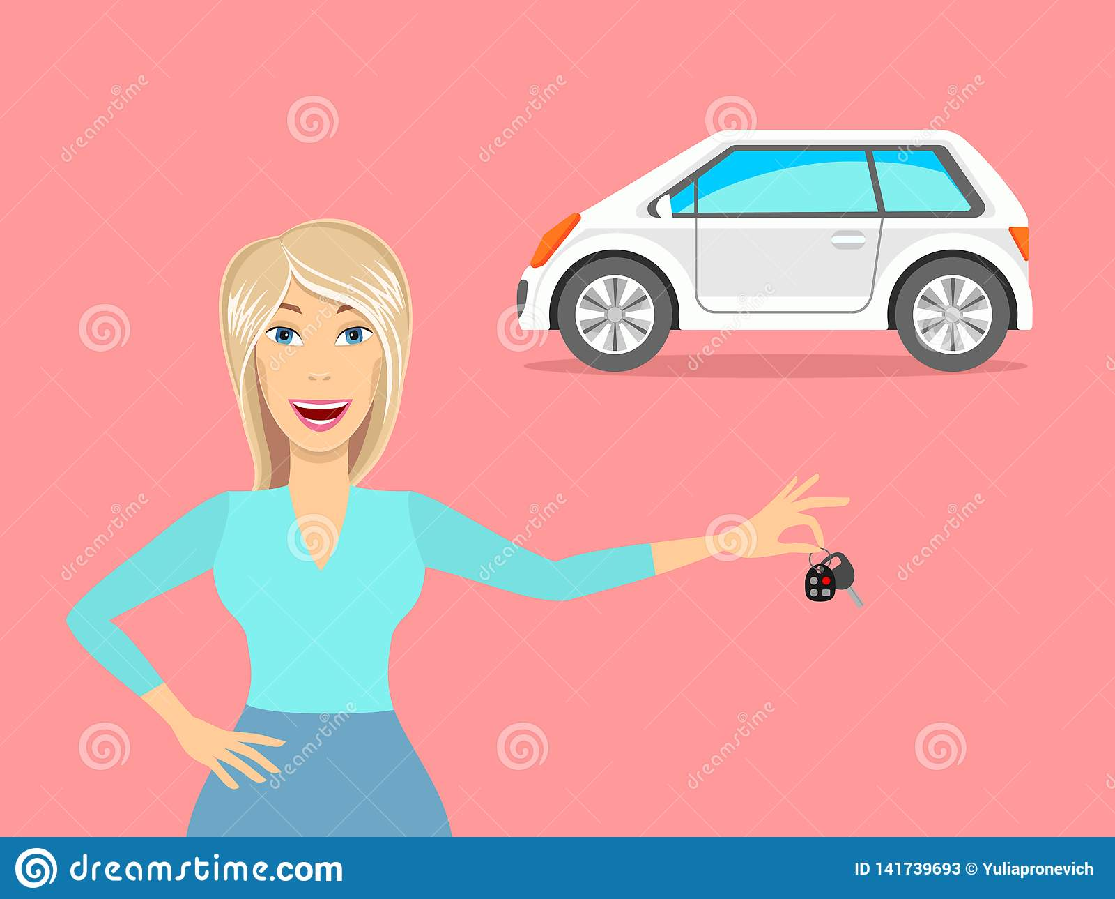 En kvinna och en bil En kvinna som kör en bil vektor