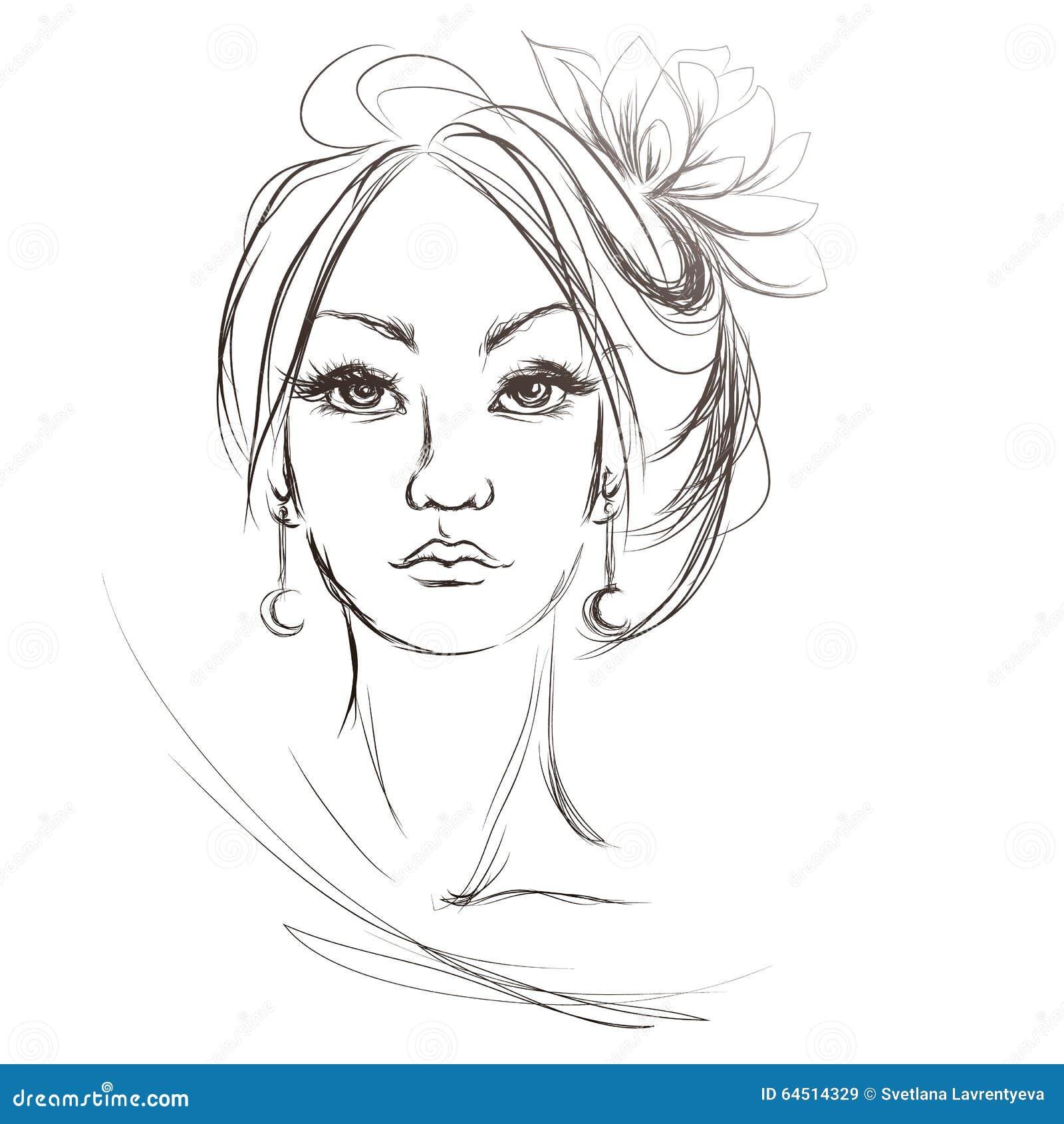 En kvinnas framsida, frisyr med blomman, vektor