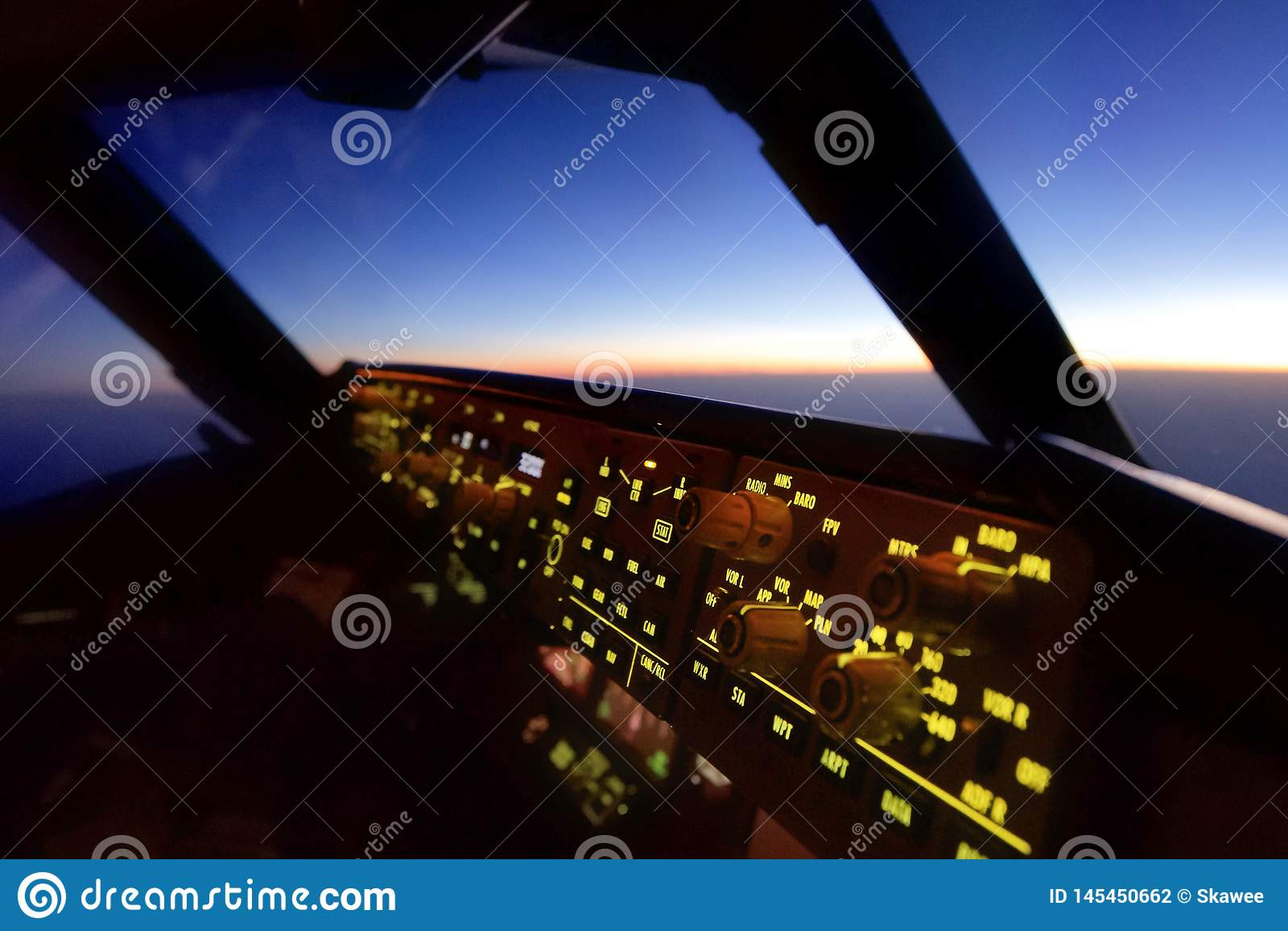 En la opinión de la carlinga del aeroplano del asiento experimental del Co