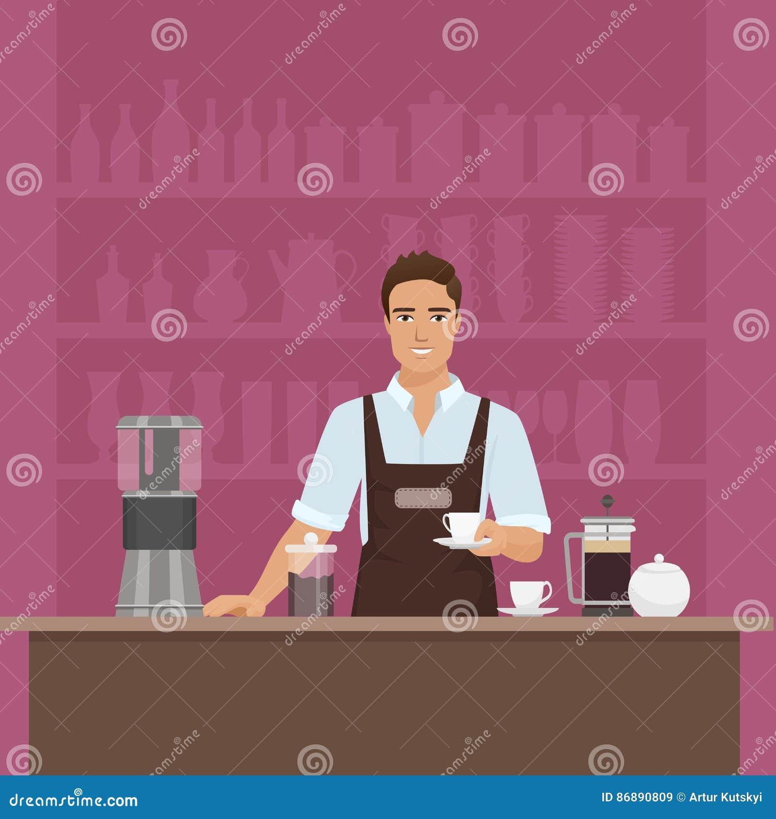 En le barista för ung man som förbereder kaffe med denmaskin vektorn i kaférestaurang