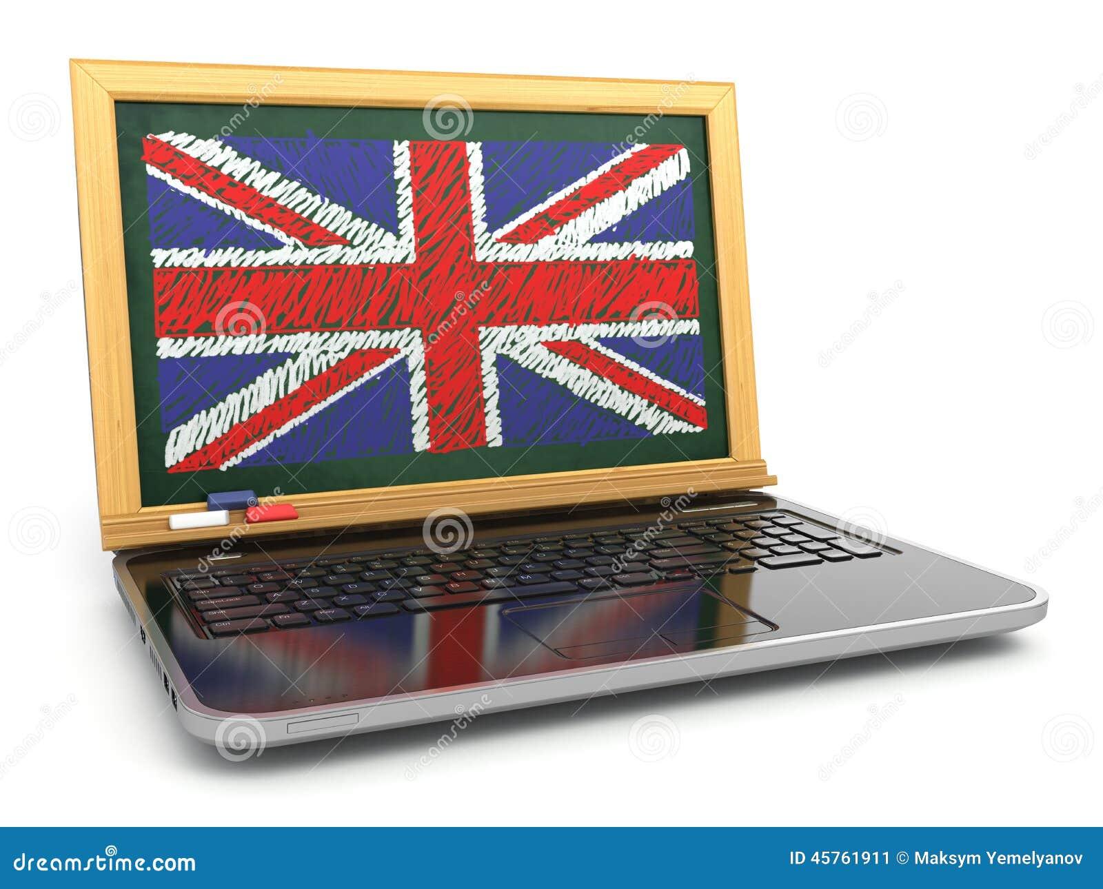 En ligne anglais apprentissage en ligne ordinateur portable et tableau noir a - Tableau noir en ligne ...