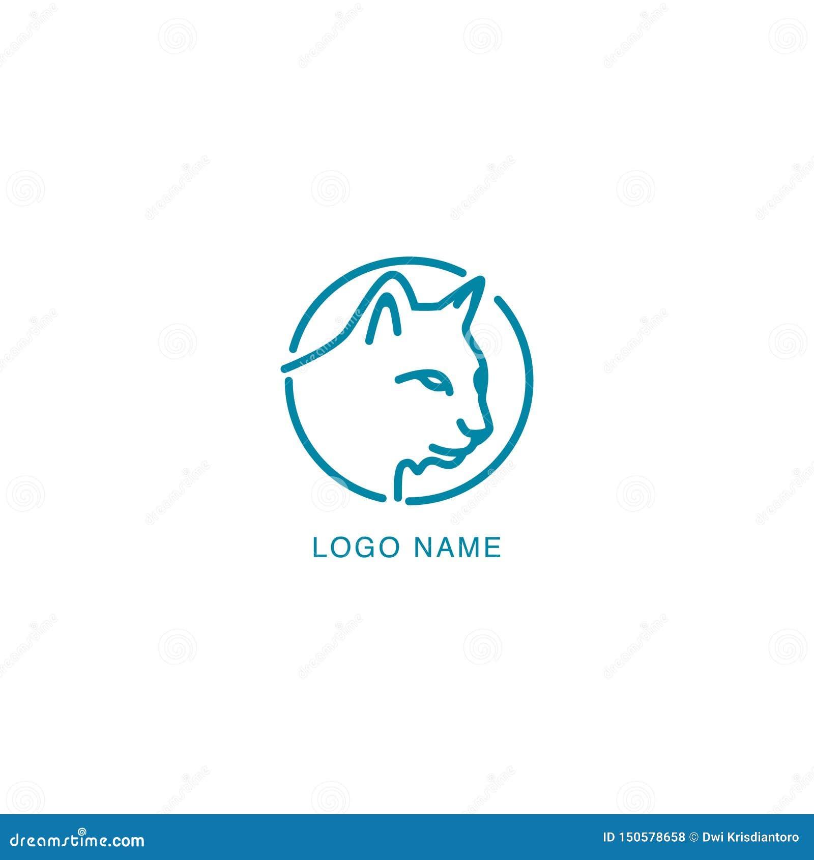 En linje design för kattbegreppslogo Husdjurlogodesign med monolinebegreppsdesign