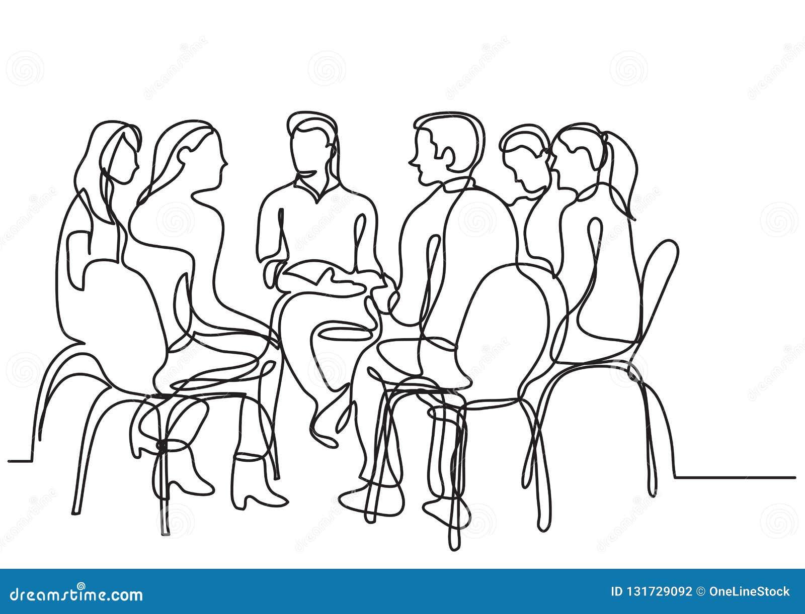 En linje teckning av grupp av ungdomarsamtal