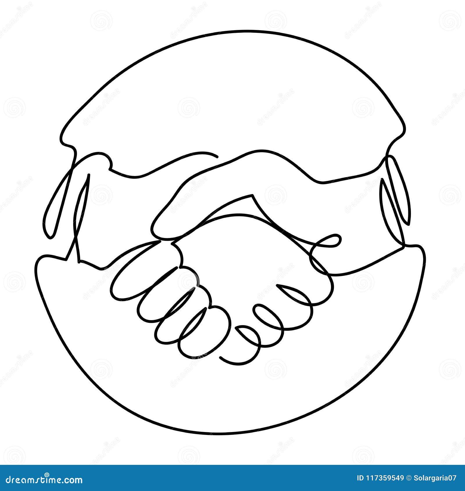 En linje teckning av handskakningsymbol i cirkel