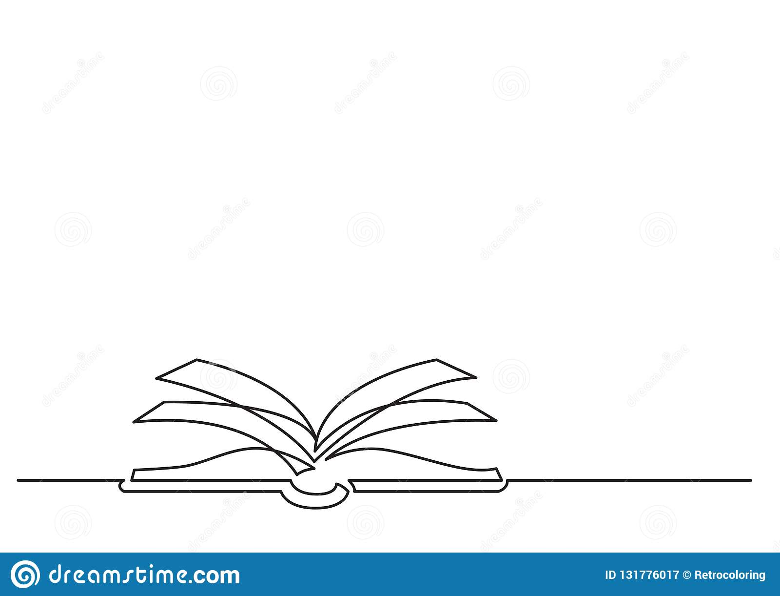 En linje teckning av isolerat vektorobjekt - öppen bok