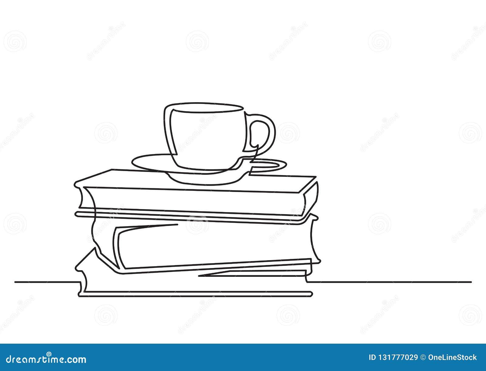 En linje teckning av isolerat vektorobjekt - böcker och kopp te