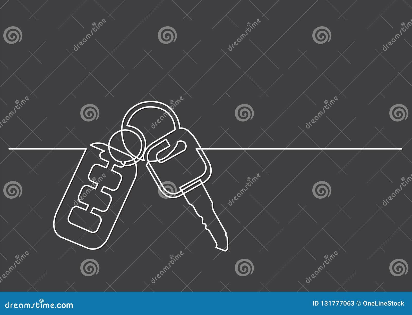 En linje teckning av isolerat vektorobjekt - biltangenter