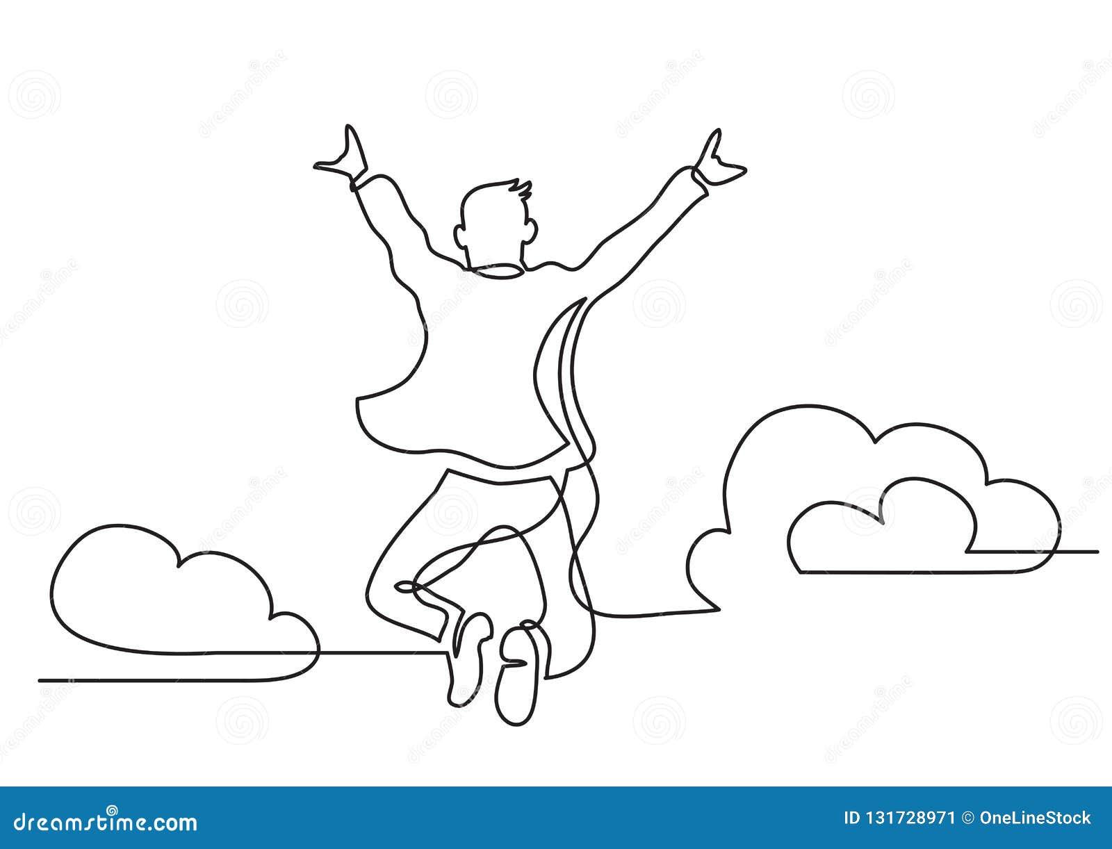 En linje teckning av lycklig man som hoppar högre moln