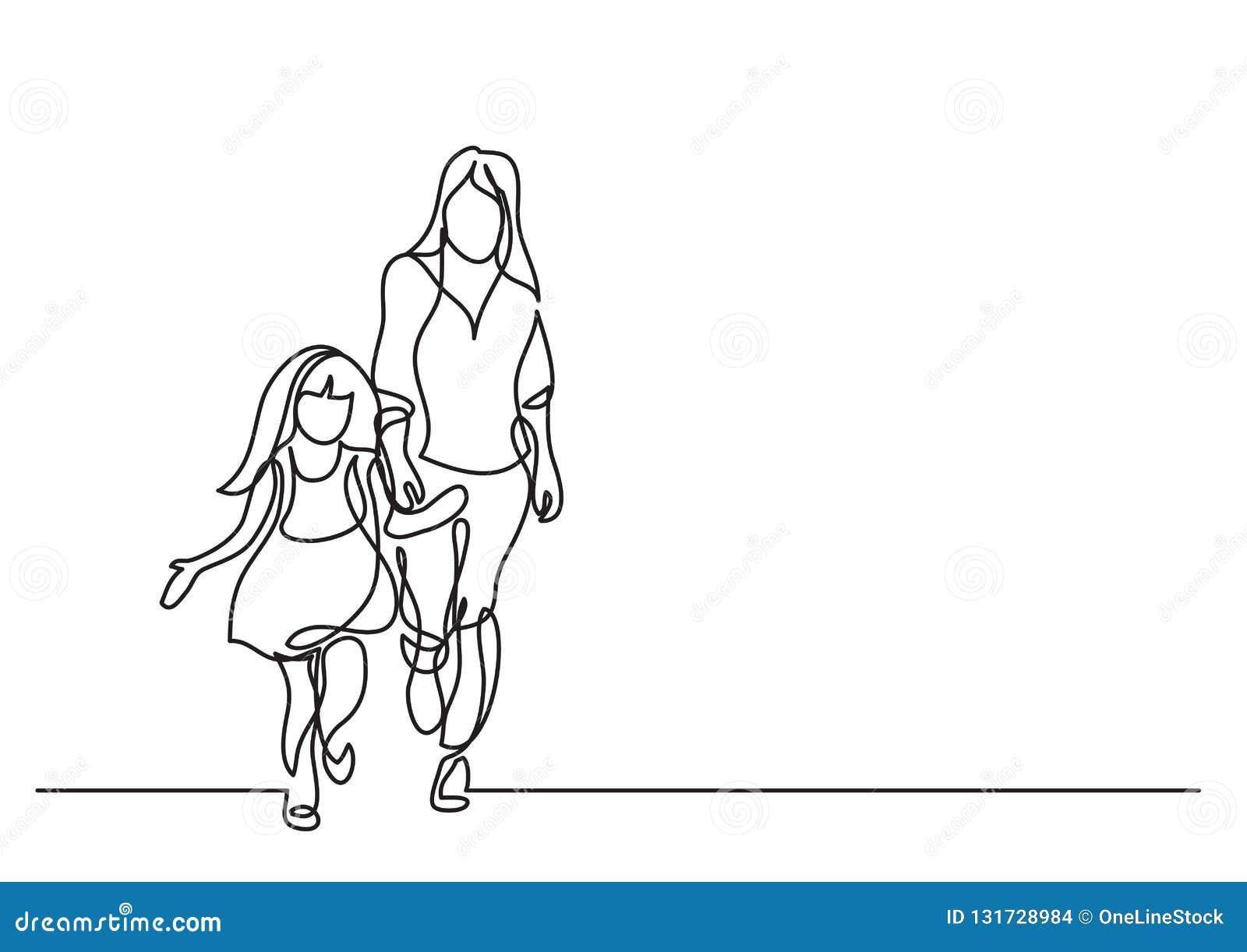 En linje teckning av moder och dotter som tillsammans går