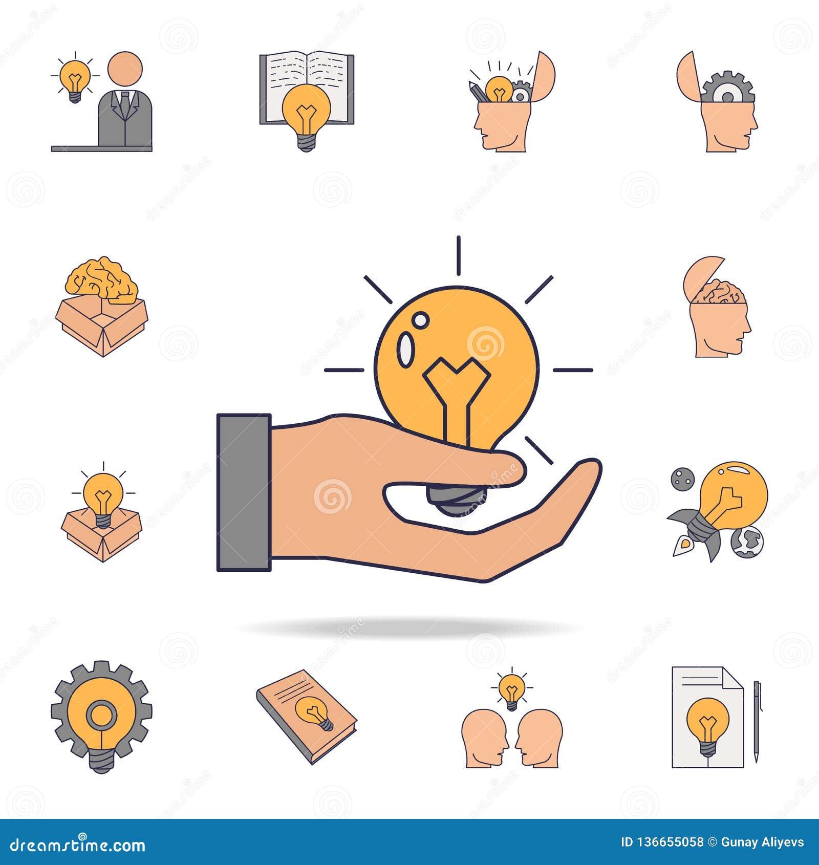En ljus kula i en symbol för man-  's-handfildfärg Detaljerad uppsättning av färgidésymboler Högvärdig grafisk design En av saml