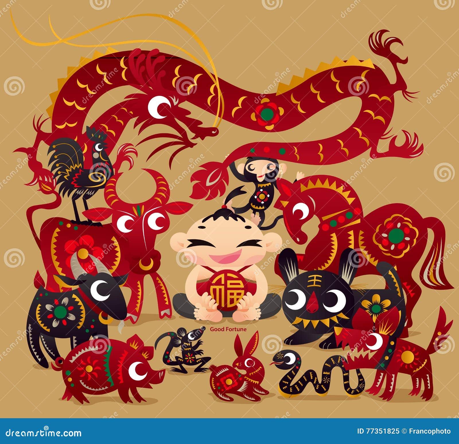 En lycklig pojke med tolv kinesiska zodiakdjur