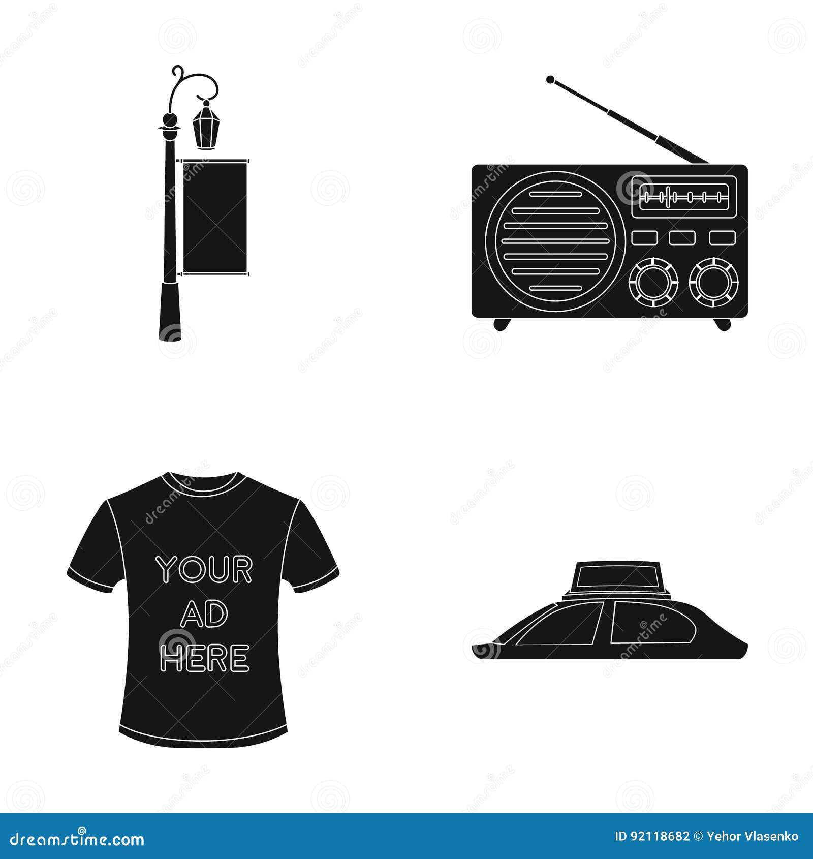 En lyktstolpe med ett tecken, en T-tröja med en inskrift, en radio, ett biltak Ställ in samlingssymboler i svart, annonsera