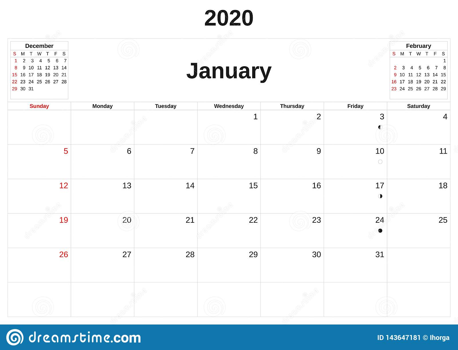 2020 en m?natlig kalender med vit bakgrund