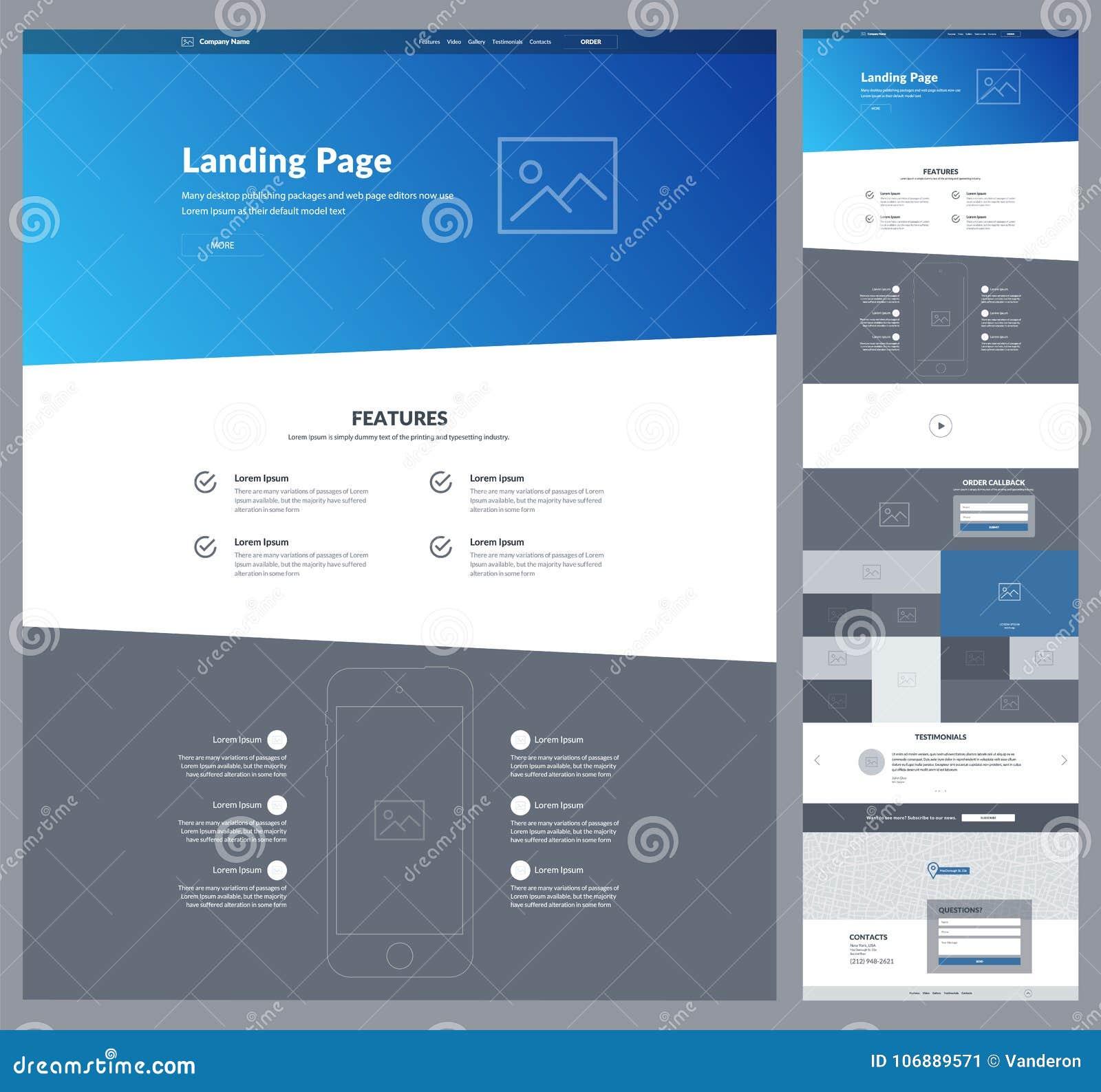 En mall för sidawebsitedesign för din affär Landa sidan Wireframe Design för Ux uiwebsite Plan modern svars- design