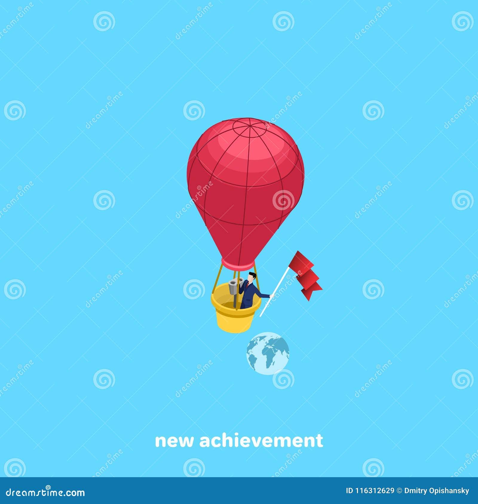En man i en affärsdräkt flyger i en ballong och håller framkallning flaggan