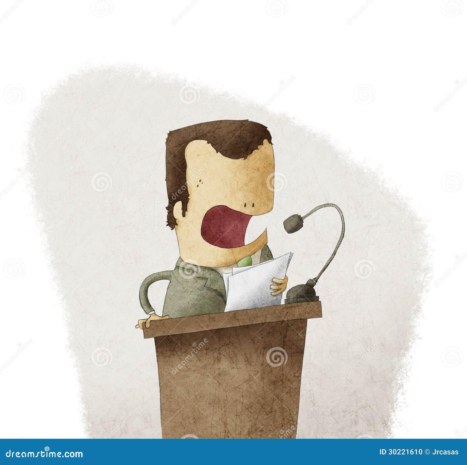 Man på podiet som ger anförande