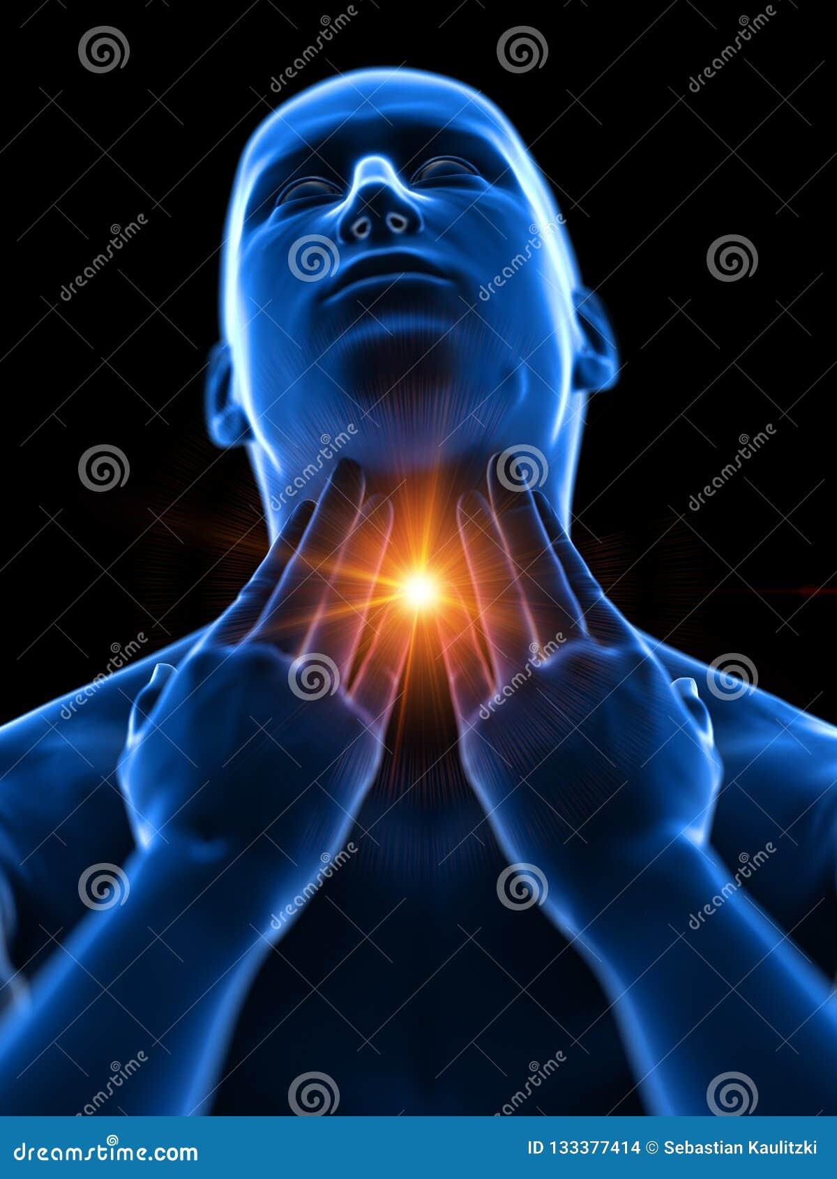 En man som har en öm hals