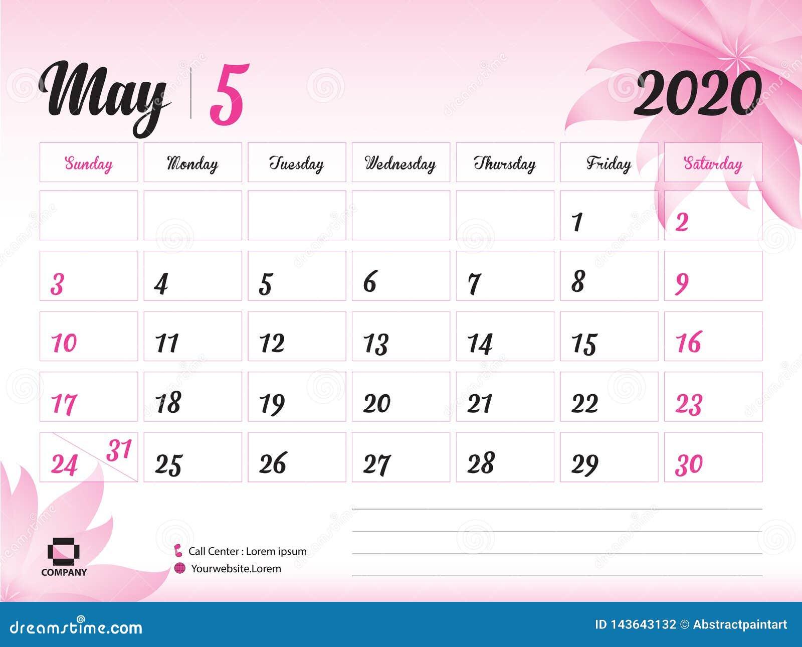 Ano 2020 Calendario.En Mayo De 2020 Plantilla Del Ano Vector 2020 Diseno Del