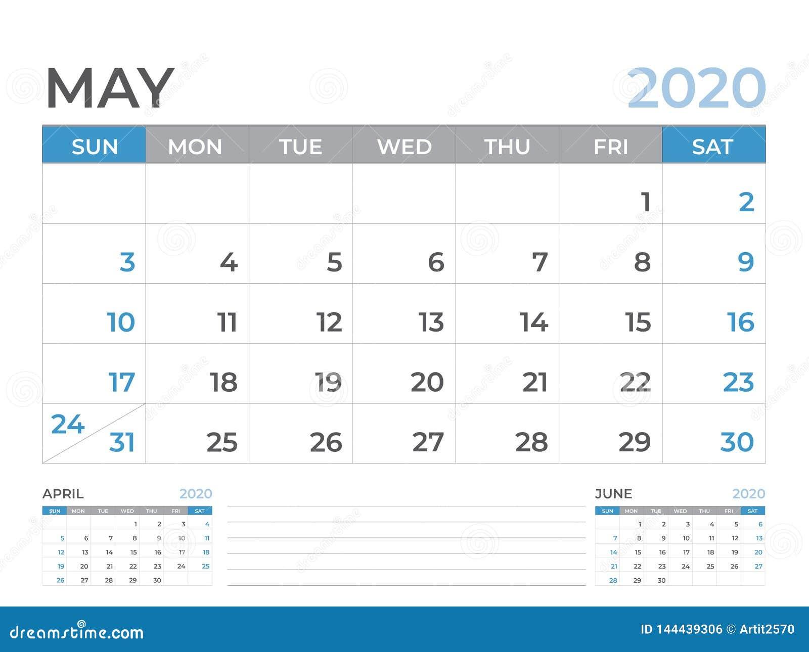 En mayo de 2020 plantilla del calendario, talla 8 x de la disposición de calendario de escritorio 6 pulgadas, diseño del planific
