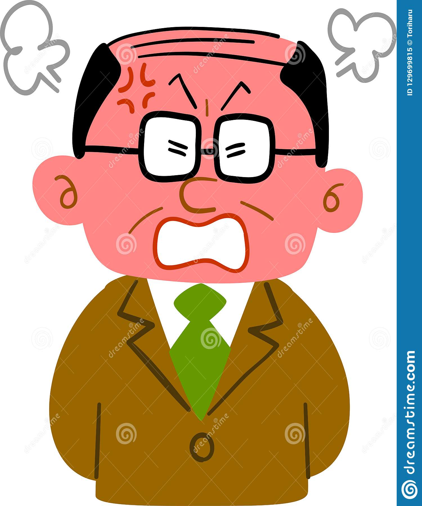 En medelålders man som bär en ilsken dräkt med en spolad framsida