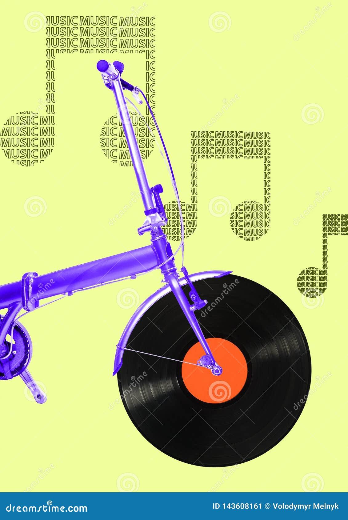 En musicial cykel modern design Samtida konstcollage